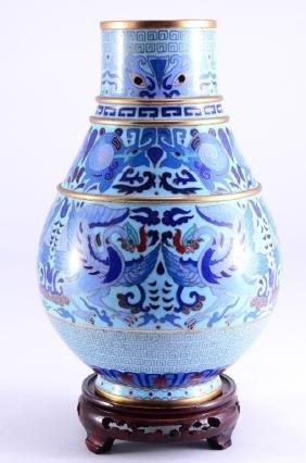 Cloisonne Vase w/Mythical Birds & Greek Key Design