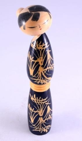 Oriental Tall Signed Wooden Doll