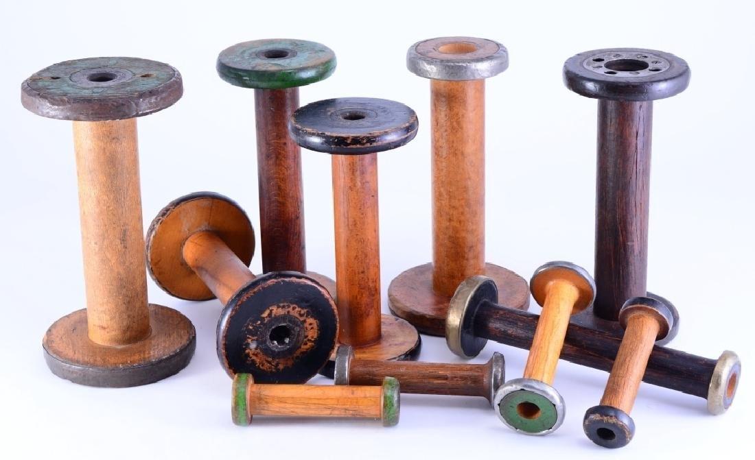 11 Vintage Varying Size Wood Mill Bobbins