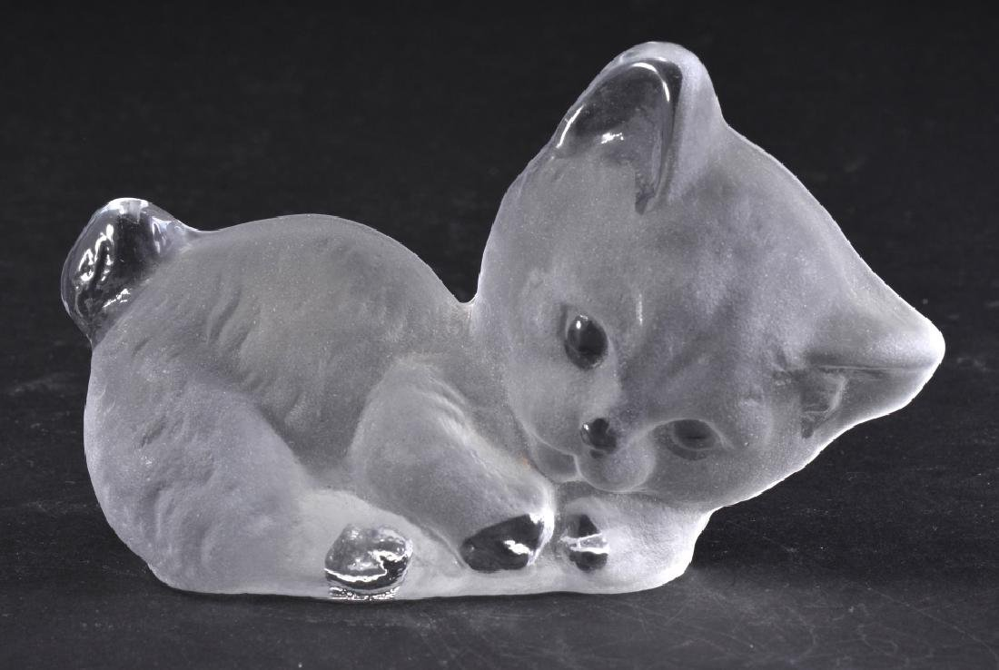 Frosted Viking Glass Paperweight/Bookend Cat
