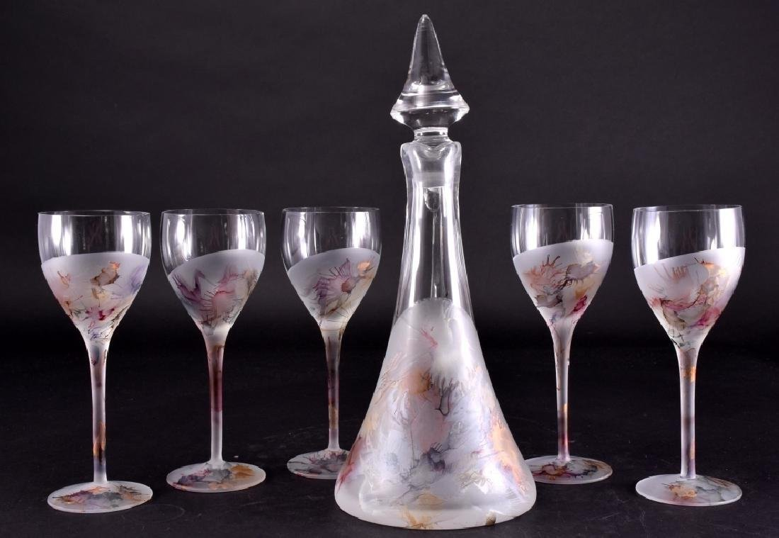 Frosted Impressionistic Decanter w/Wine Stems