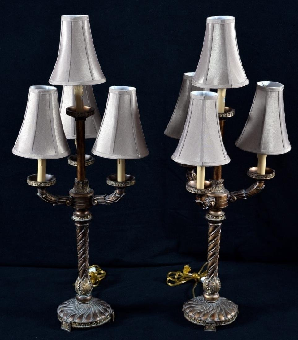 Pair Copper Tone 4-Arm Candelabra Style Lamps