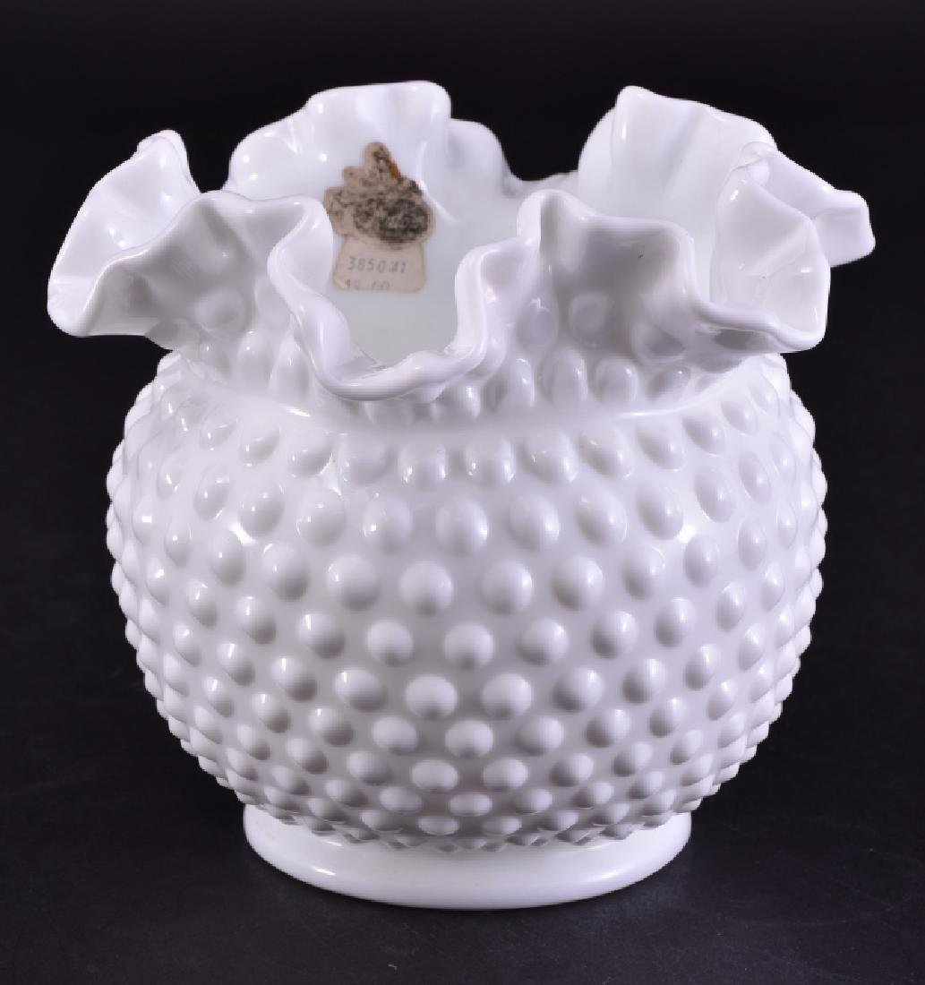Fenton Hobnail Milkglass Vase w/Original Sticker
