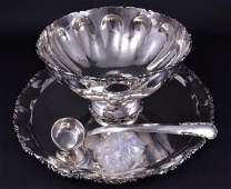 California Sterling Punch Bowl, Ladle & Tray