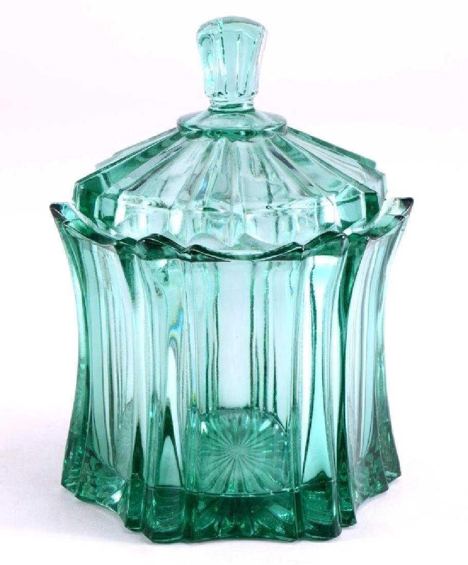 Fenton Green Covered Candy Dish