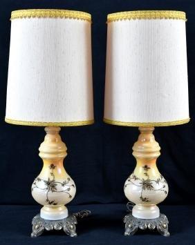 Opalescent Cream Carnival Glass Lamps