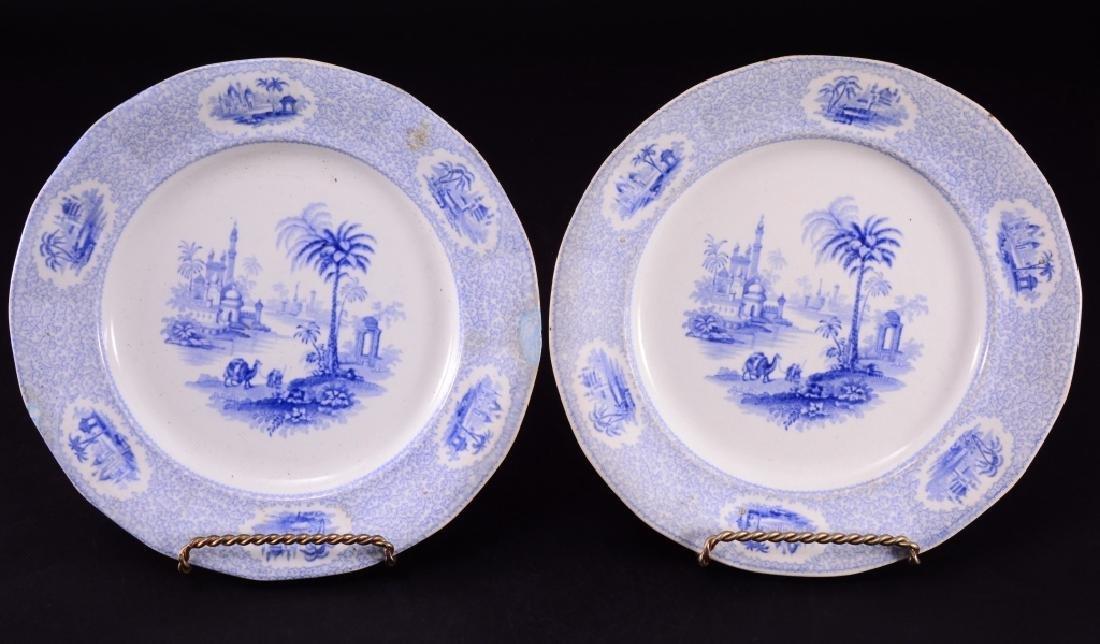 Pair Blue & White Ridgway Euphrates Plates