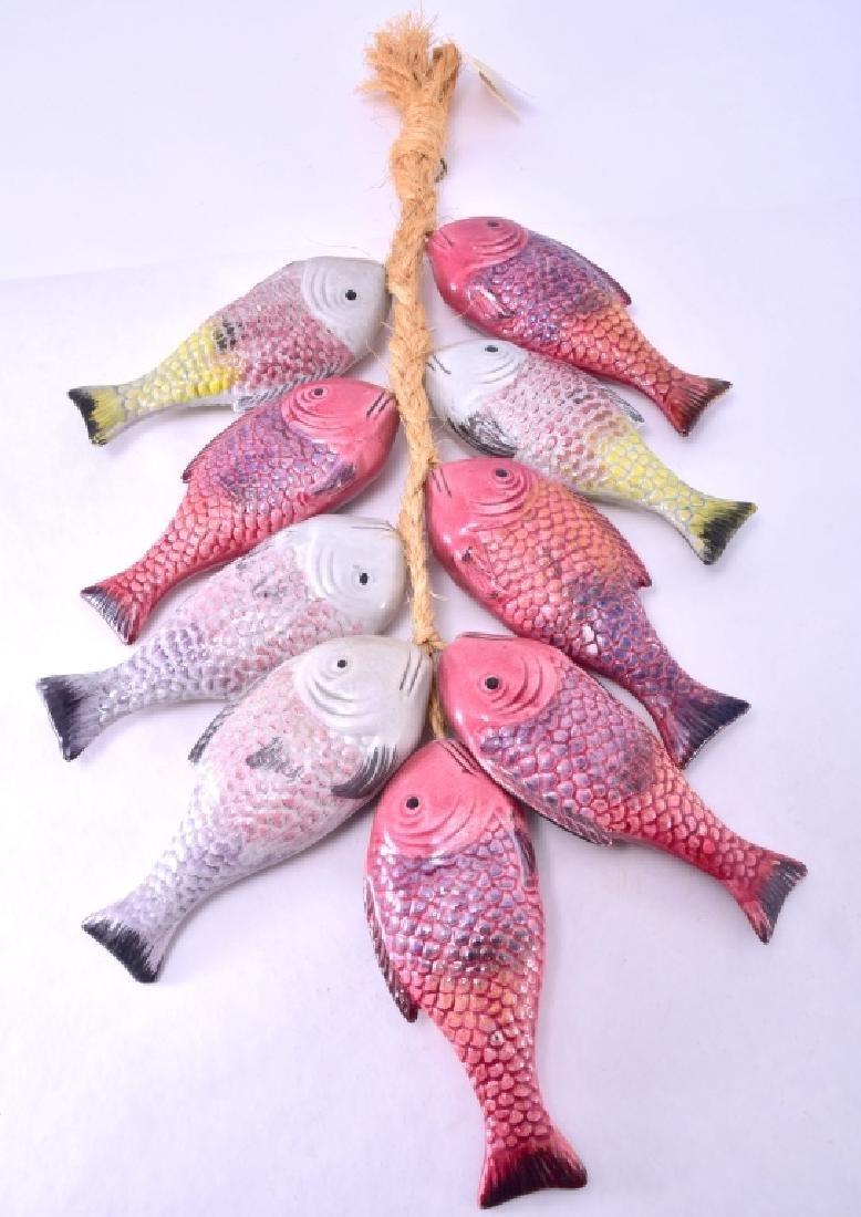 Nine Ceramic Handcrafted Fish on Hanging Braid