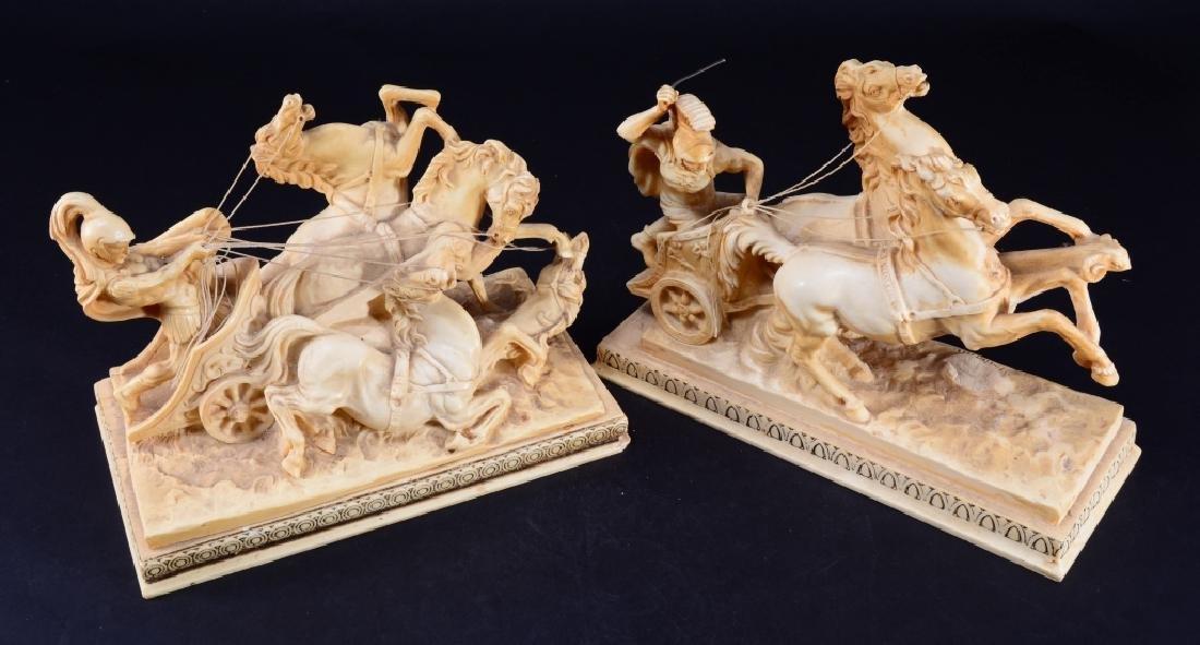 2 Amilcare Santini Gladiator & Chariot Sculptures