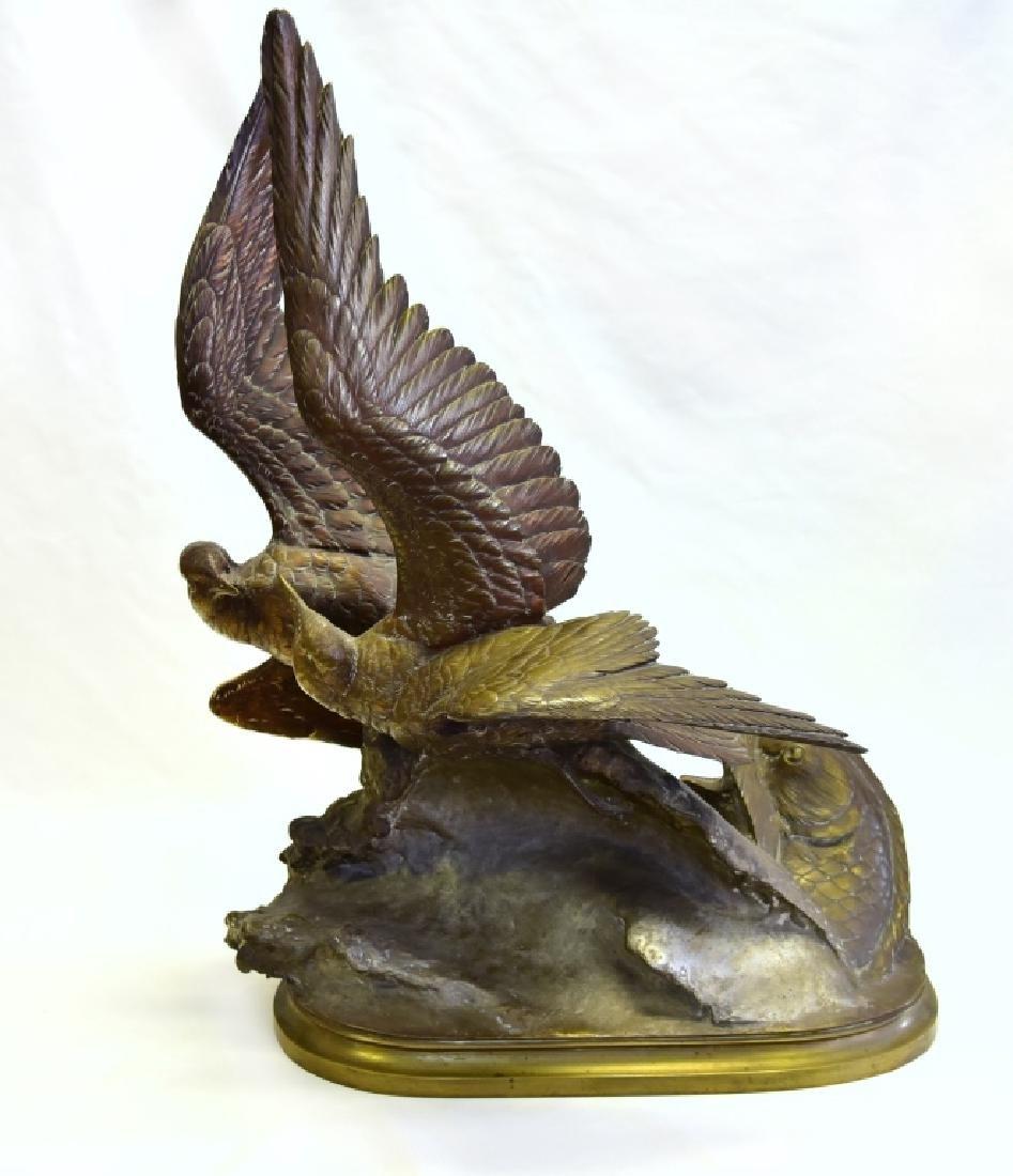 Bird & Fish Bronze Signed Lechesne Sculpture