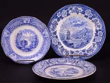 3 Antique Blue & White Plates