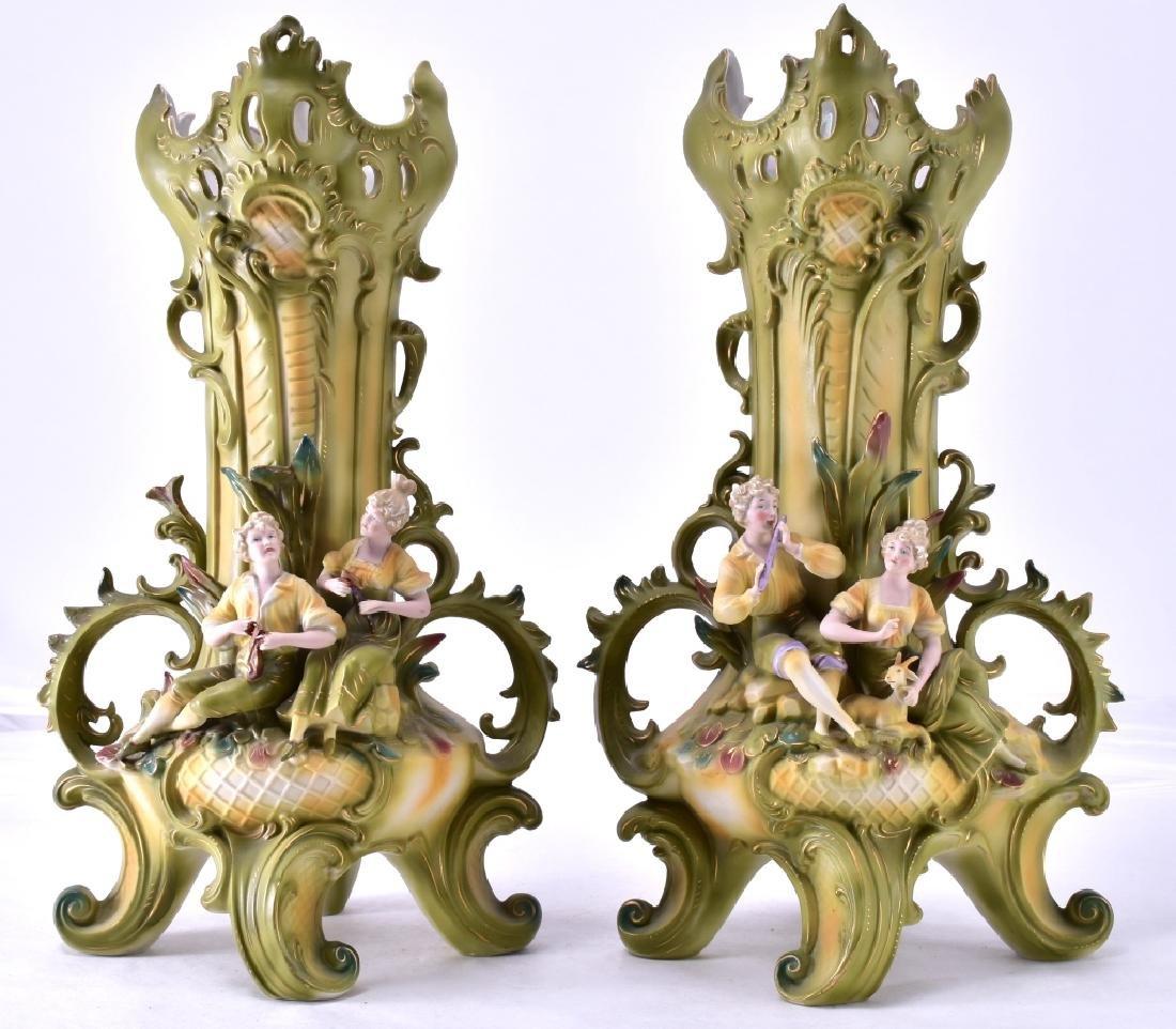Vintage Bisque Saxony 3-D Figural Vases