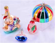 Three Large Blown Christmas Ornaments