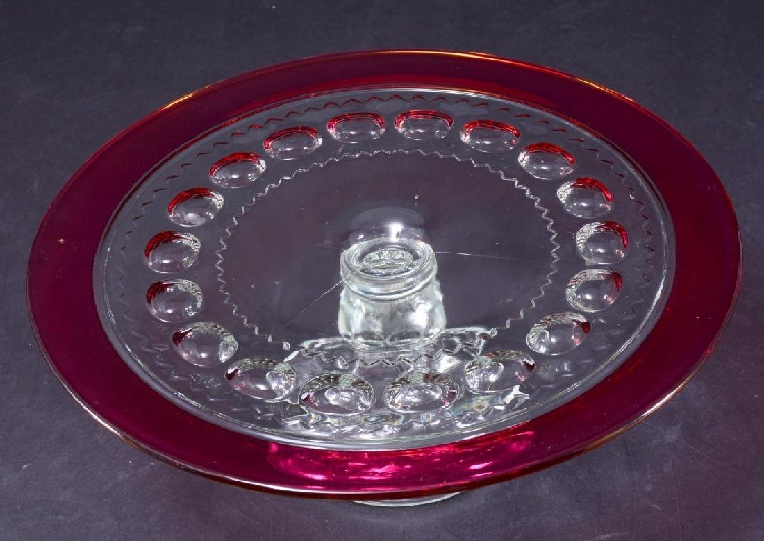 King's Crown Ruby Flashed Thumbprint Cake Stand