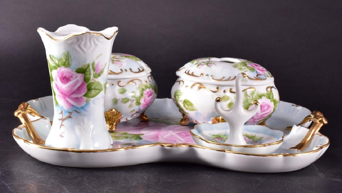 Ladies Handpainted China Signed Dresser Set w/Tray