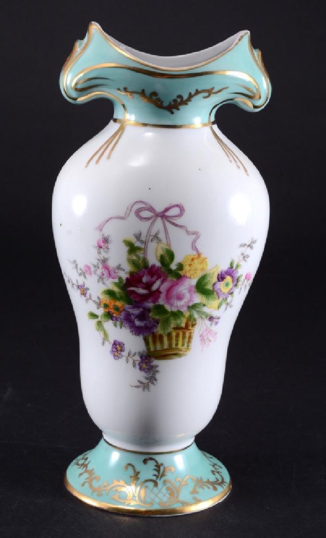 Limoges Porcelain Floral Vase Trimmed in Gold