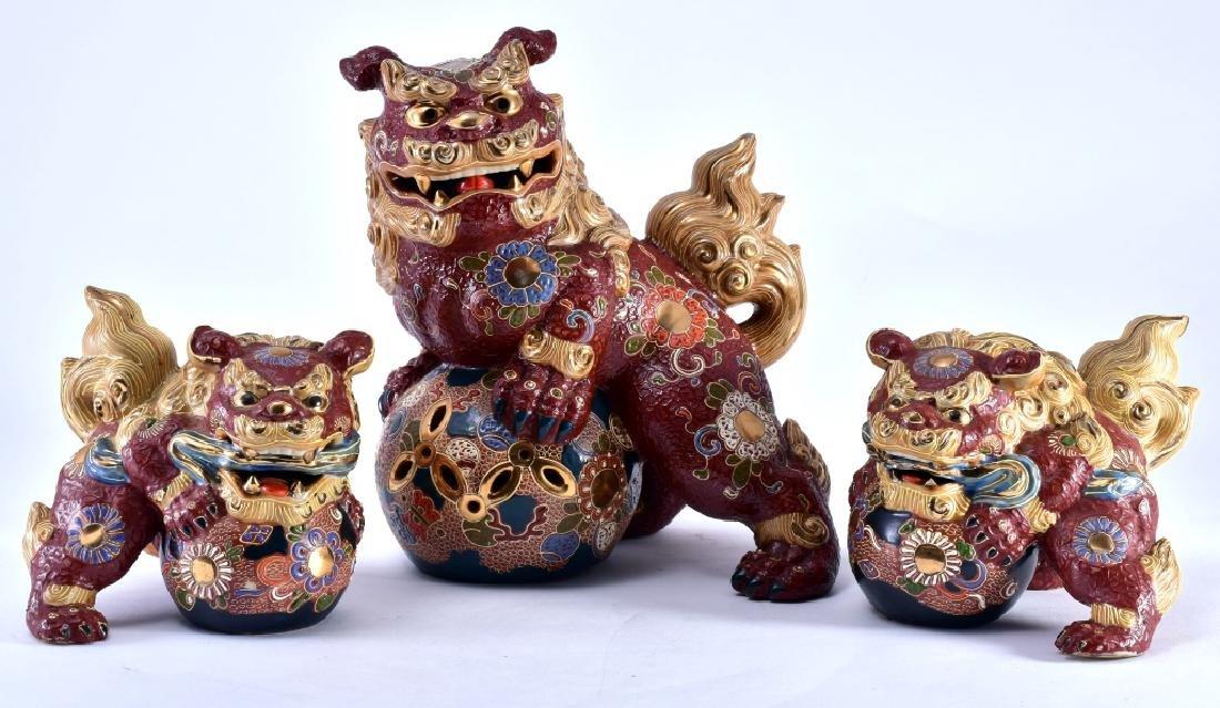 3 Japanese Kutani Gilt Guardian Foo Dogs