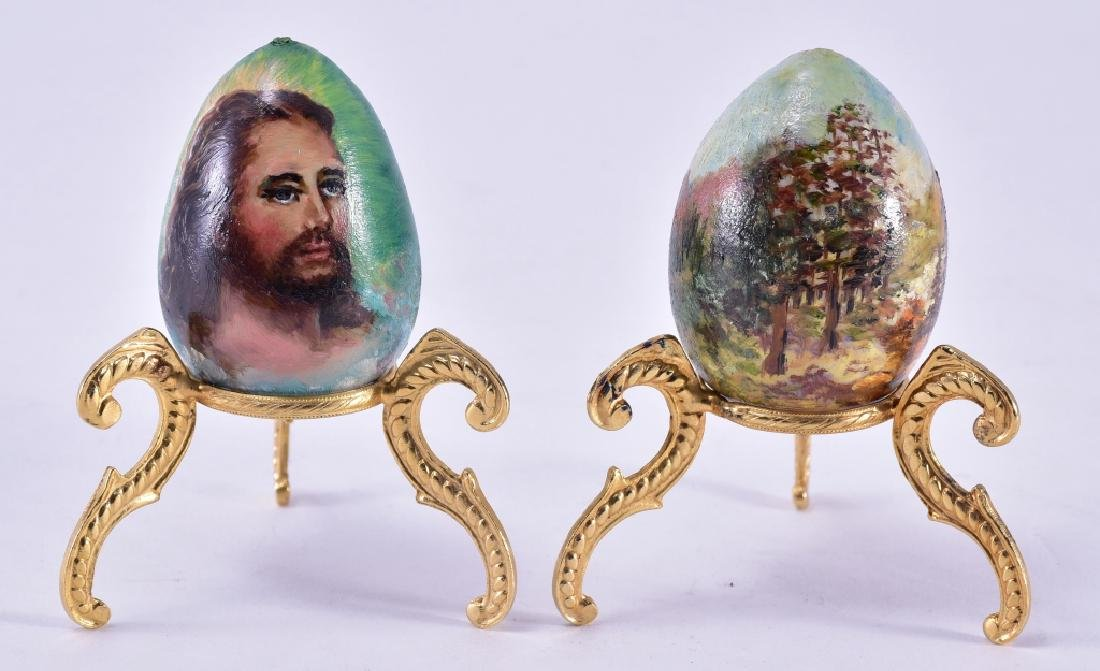 H. Vavra Hand Painted Eggs on Ornate Stands