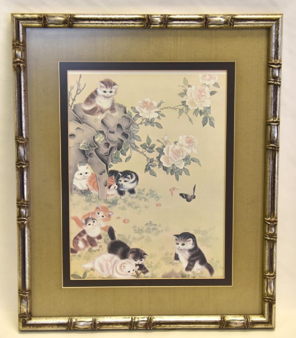 Artwork Cats Playing in Flowers & Butterflies
