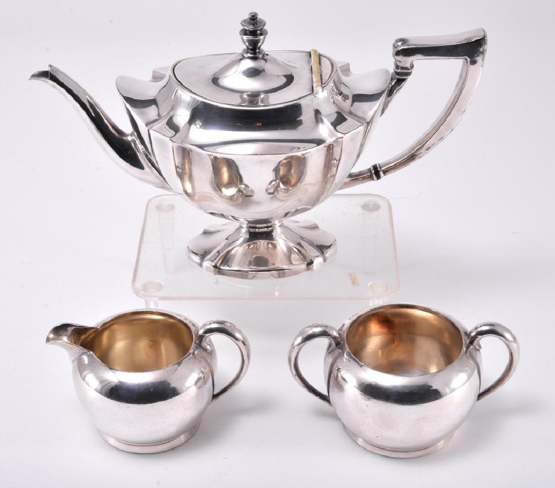 Silverplate Teapot, Cream & Sugar