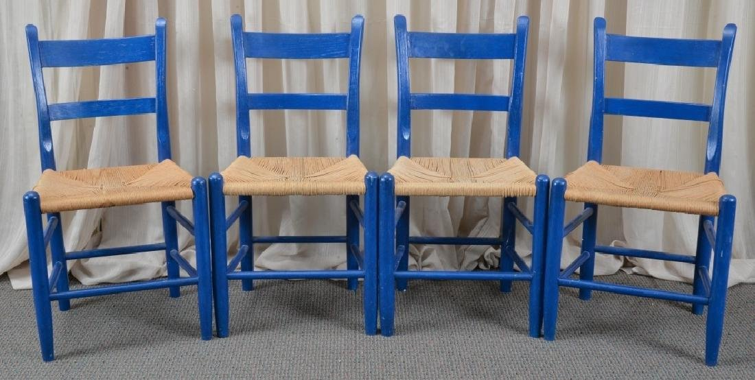 4 Blue Slat Back Side Chairs