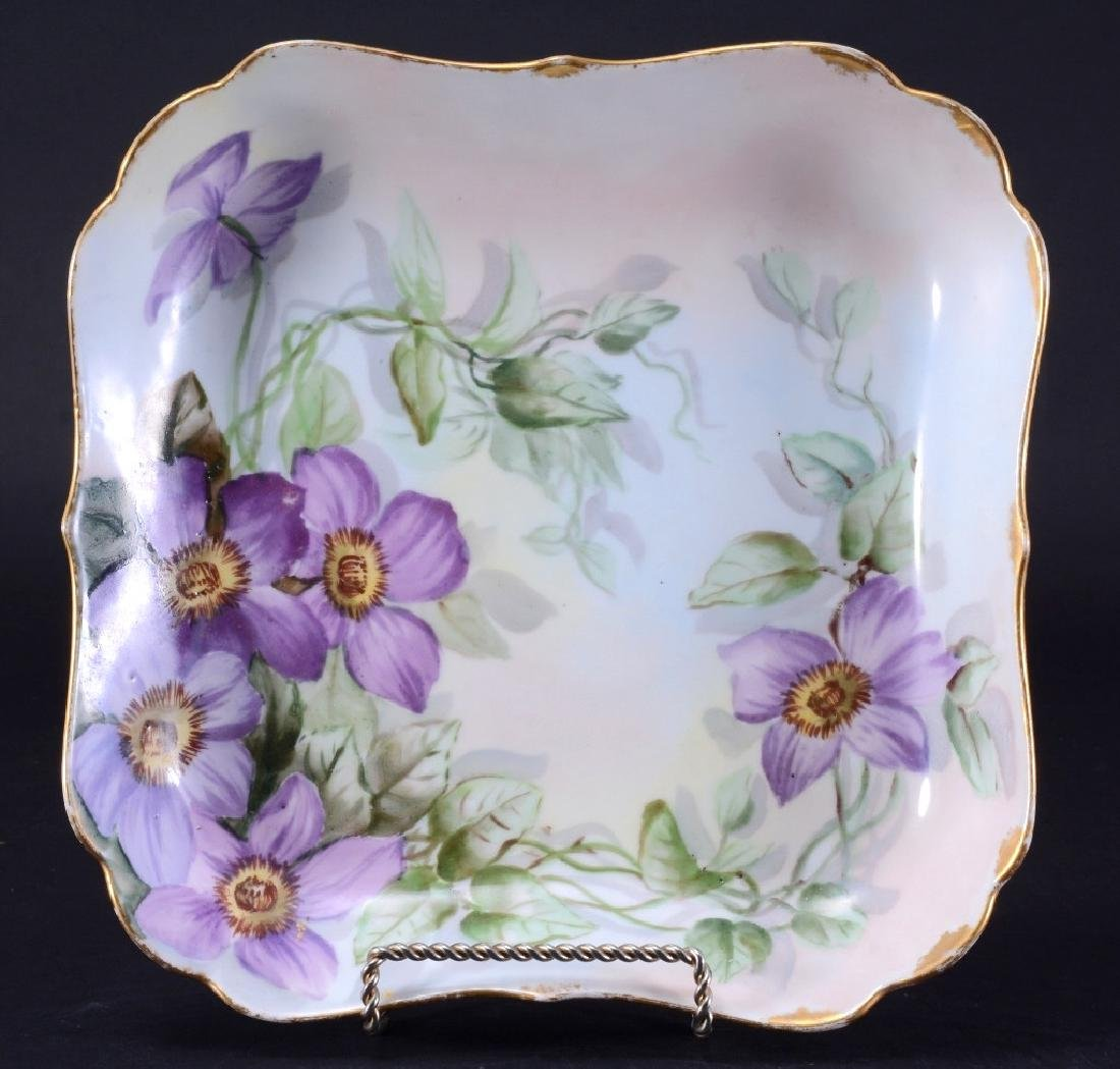 Limoges, Square Bowl w/Purple Clematis Flowers