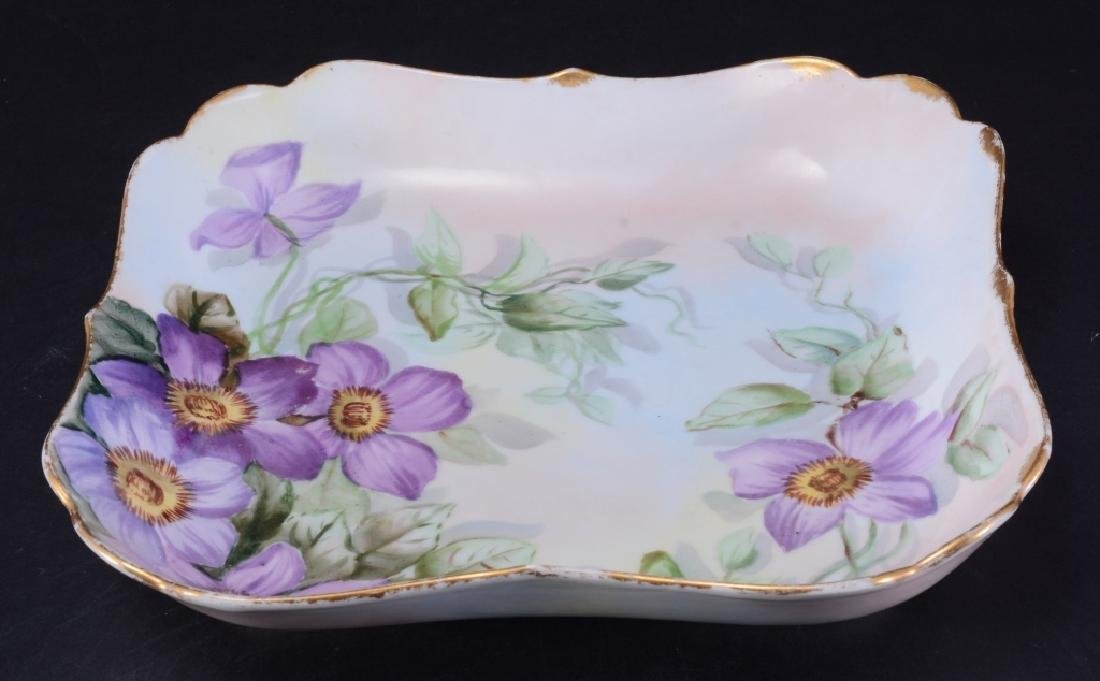 Limoges, Square Bowl w/Purple Clematis Flowers - 2