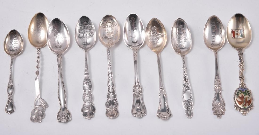 10 Sterling Silver Souvenir Spoons
