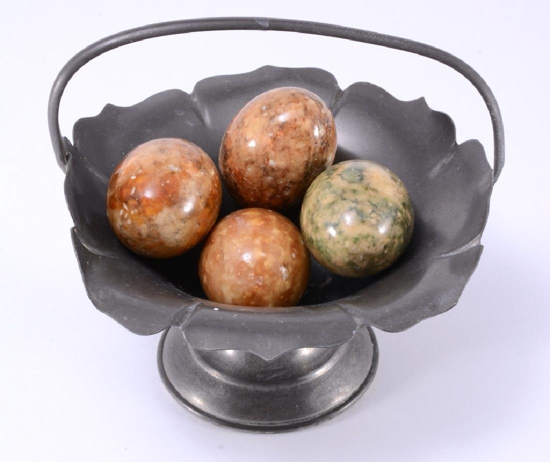 Old Colonial Pewter Handled Basket w/Marble Eggs