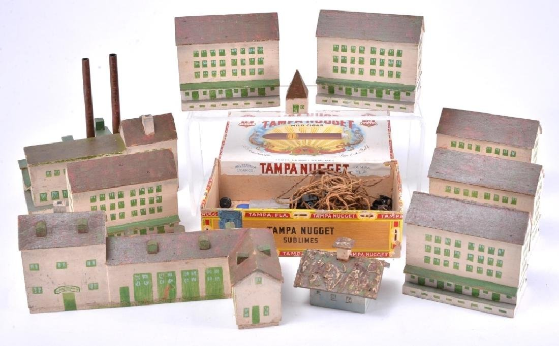 10 Painted Wood Buildings & Assorted Accessories