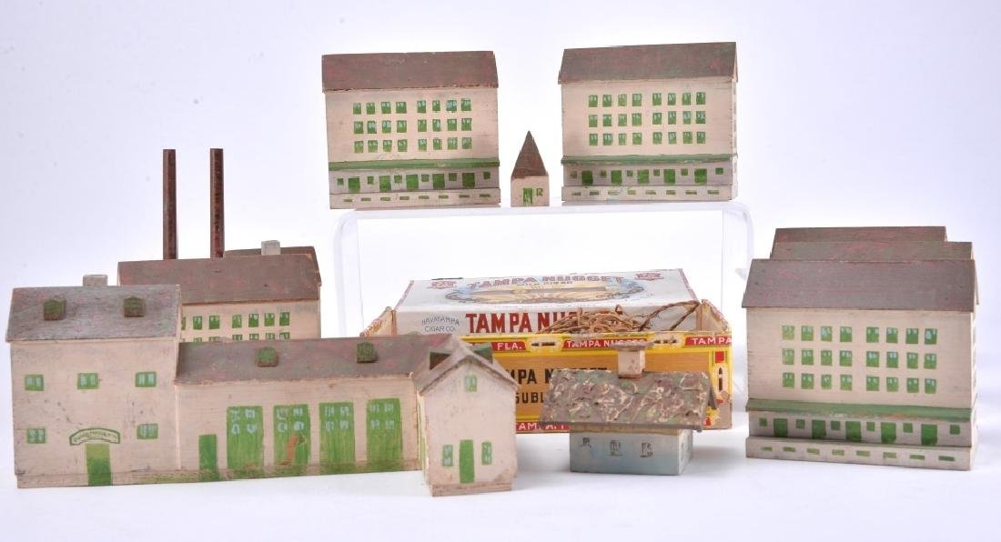 10 Painted Wood Buildings & Assorted Accessories - 3