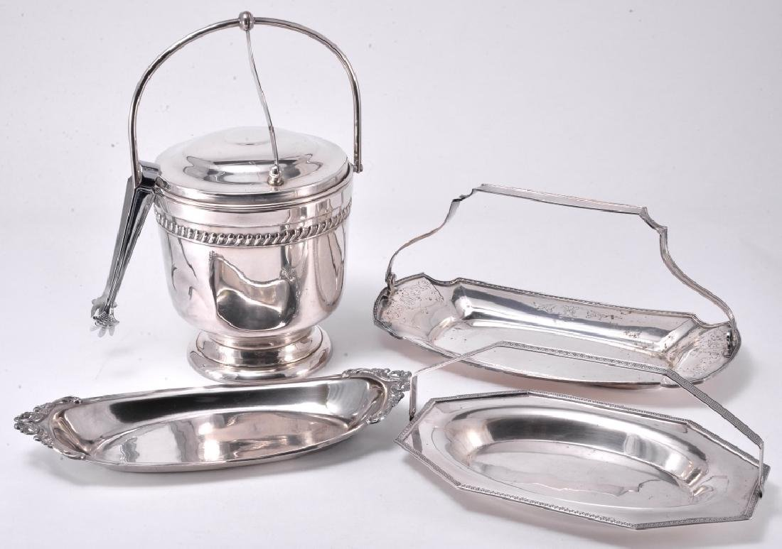 Silverplate Ice Bucket w/Tongs & Trays