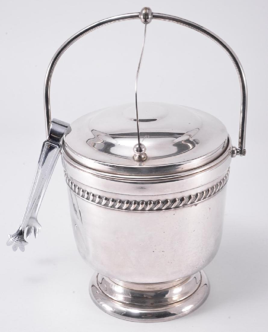 Silverplate Ice Bucket w/Tongs & Trays - 5
