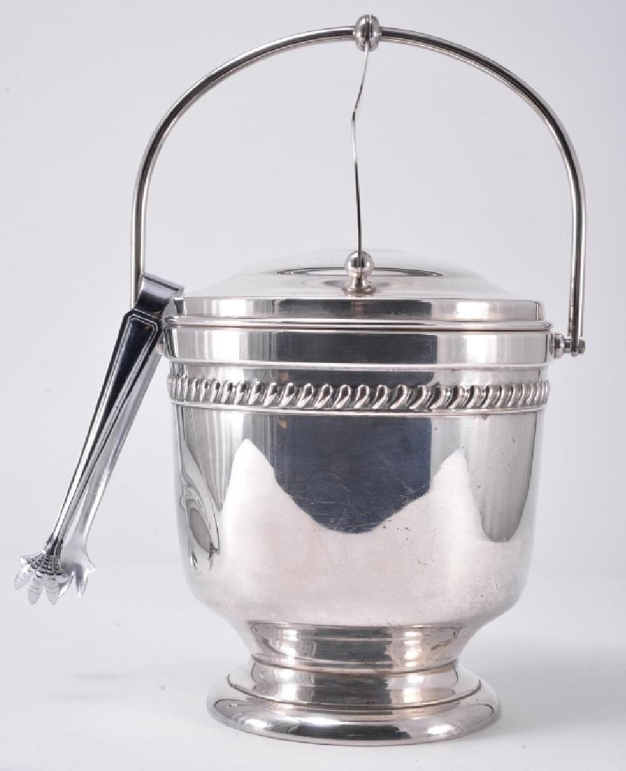 Silverplate Ice Bucket w/Tongs & Trays - 7