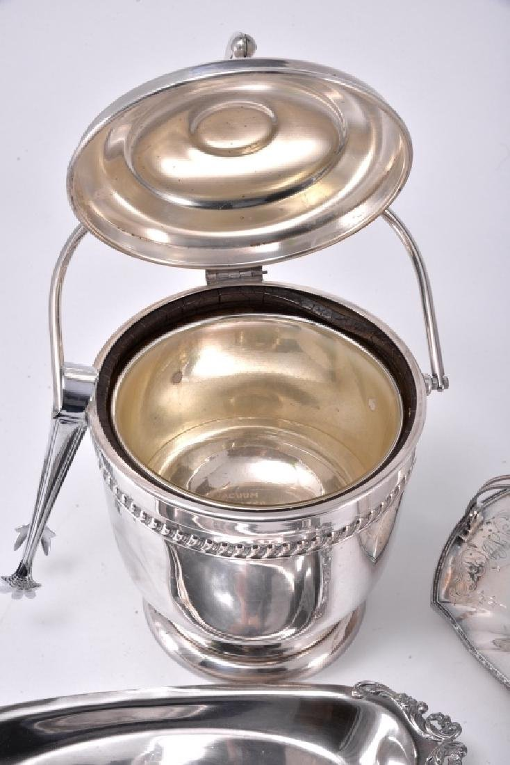 Silverplate Ice Bucket w/Tongs & Trays - 8