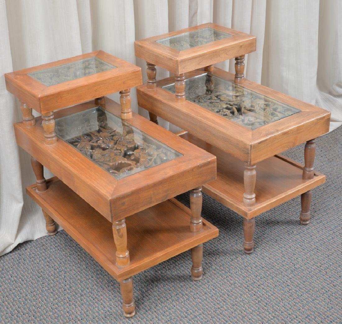 Pair Hardwood Step End Tables