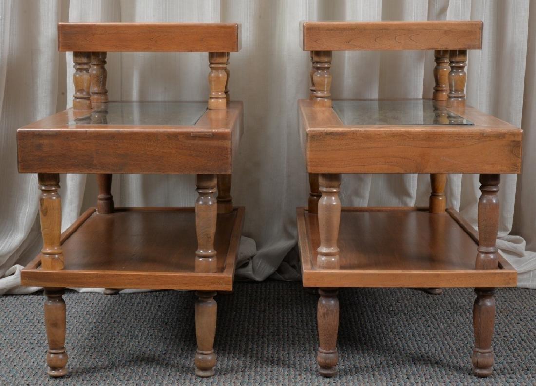 Pair Hardwood Step End Tables - 2