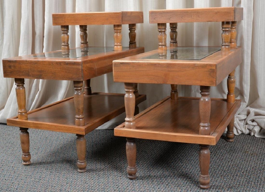 Pair Hardwood Step End Tables - 3