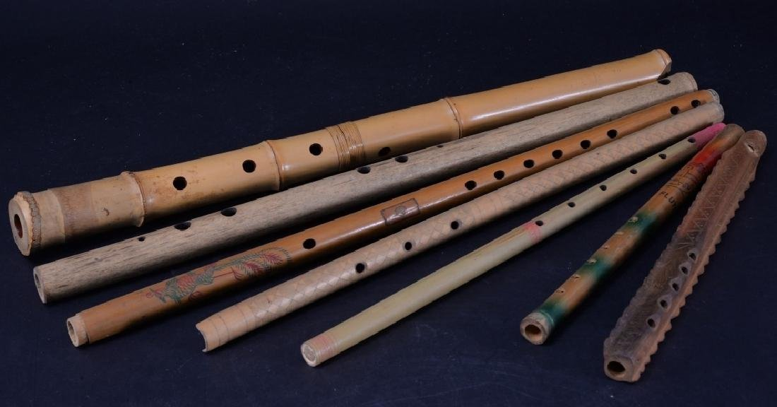 7 Carved & Handpainted Woodwind Instruments