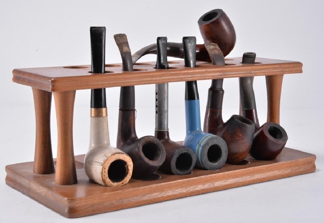 7 Pipes & Wood Pipe Stand