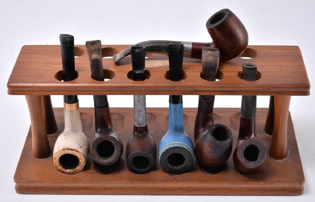 7 Pipes & Wood Pipe Stand - 2