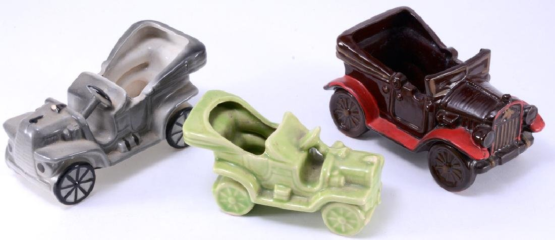 3 Vintage Cars Ceramic Planters