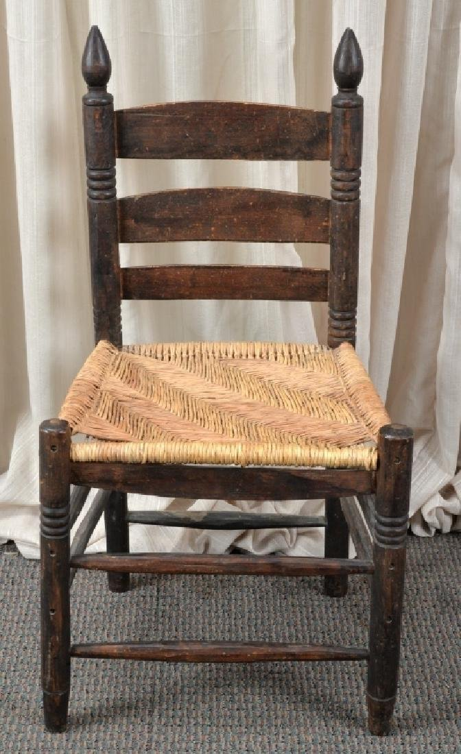 Handmade Rush Seat Slat Back Chair - 3