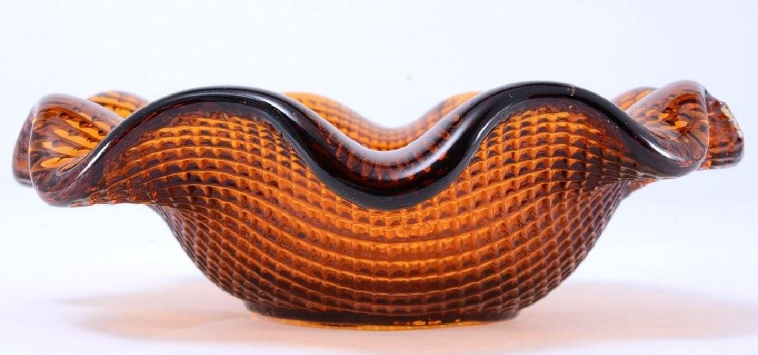 Amber Glass Ruffled Edge Bowl - 2