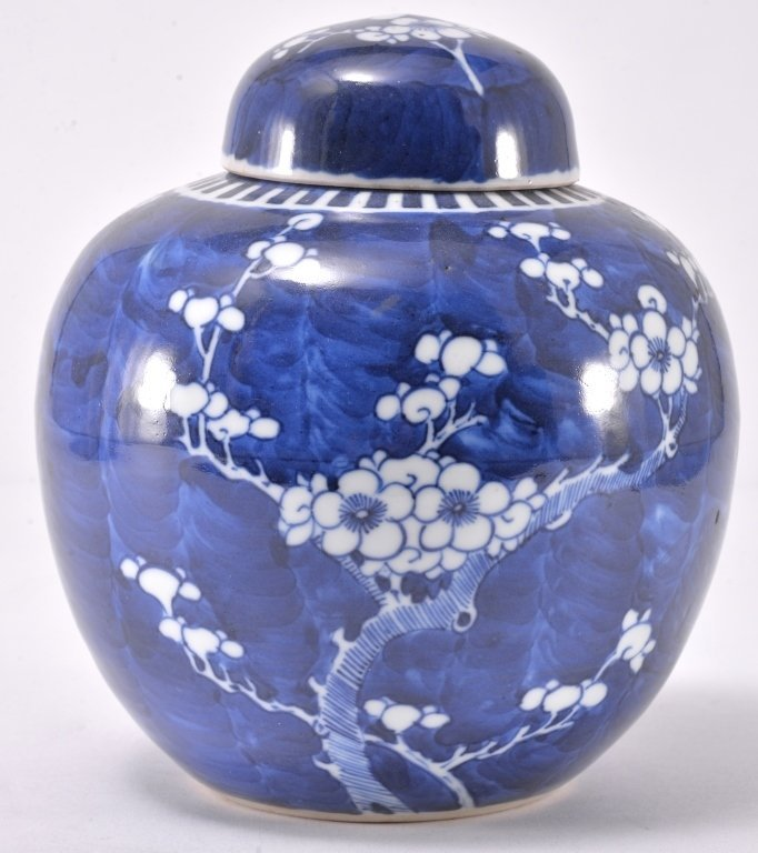 Blue & White Flower Ginger Jar on Stand - 2