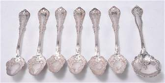 7 Pcs Silverplate Including Sugar  Fruit Spoons