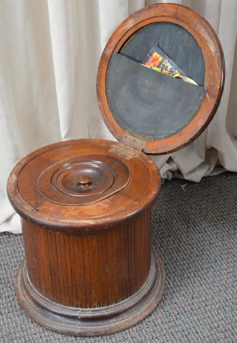 Antique Round Commode Chamber Pot - 2