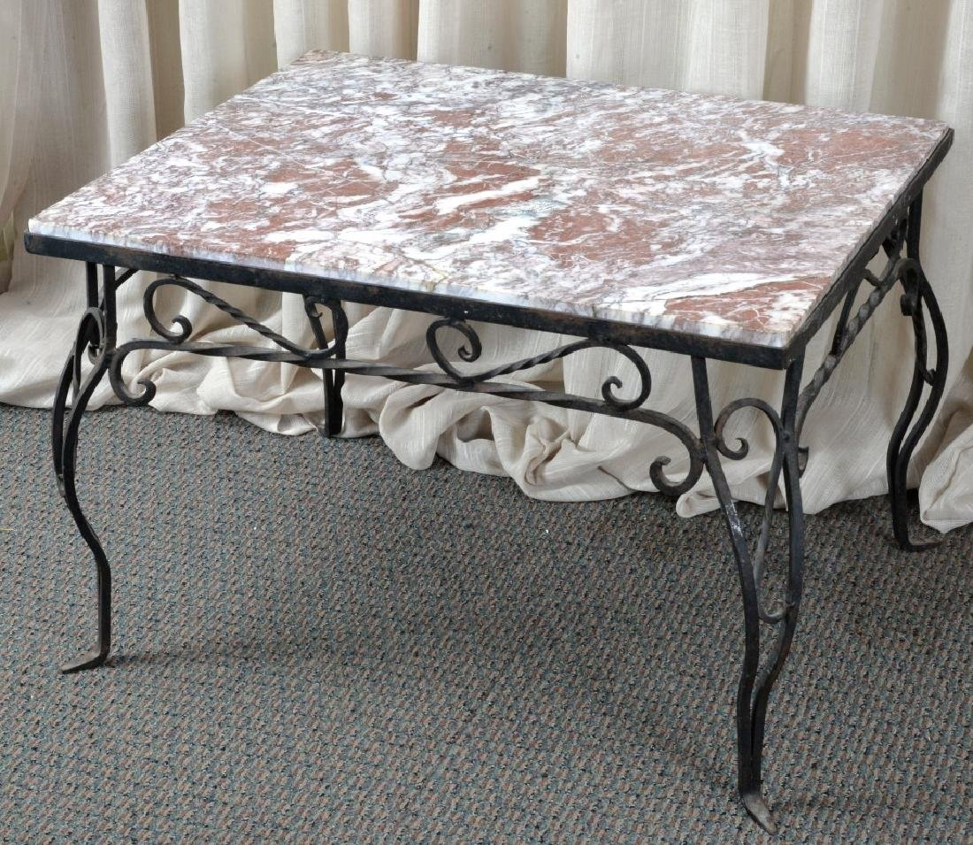 Marble & Wrought Rectangular Table