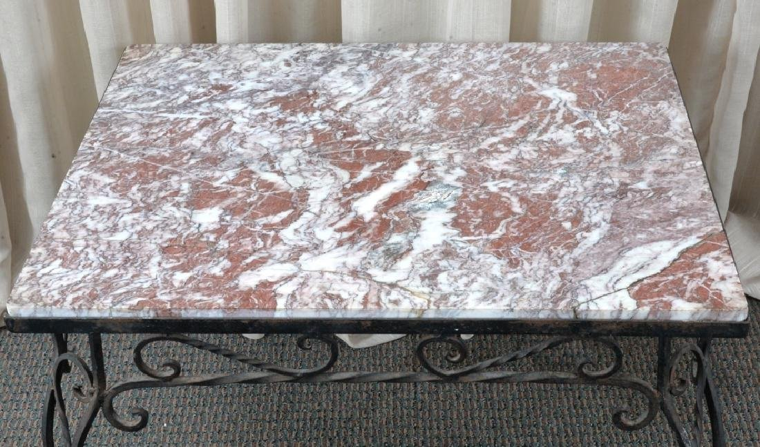 Marble & Wrought Rectangular Table - 2