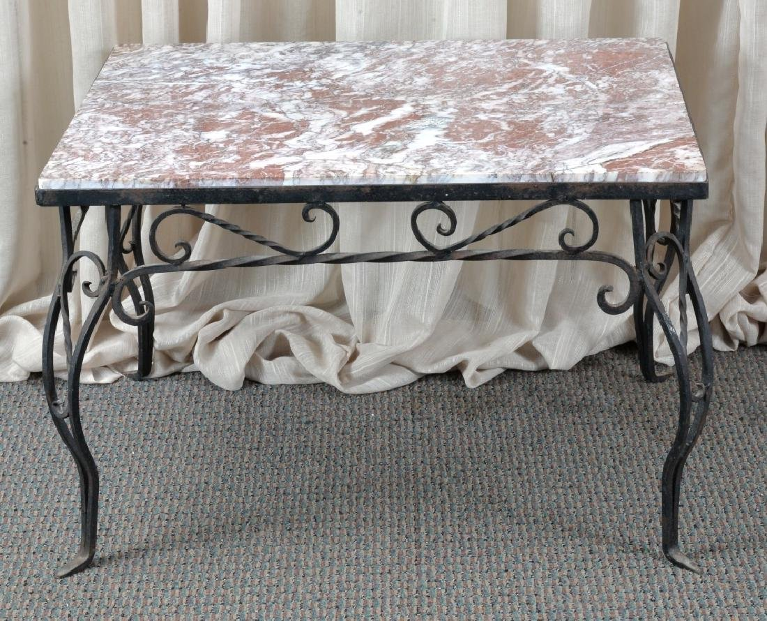 Marble & Wrought Rectangular Table - 6